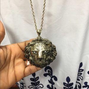 Jewelry - Lion head long pendant necklace w/ Rhinestone eyes
